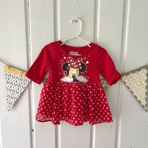 Disney Minnie Mouse Jersey Chiffon Polka Dot Dress